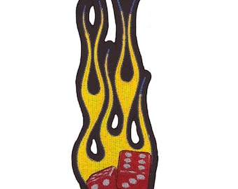 Flaming Dice Embroidered Motorcycle Biker Patch