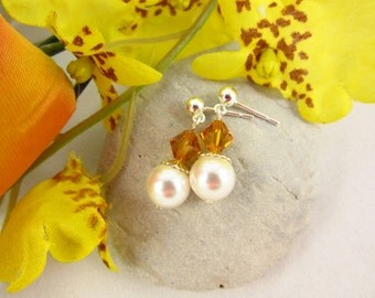 Sterling Silver November Birthstone Earrings Handmade Swarovski Topaz and Pearl Dangle Earrings Birthday/Bridal/Bridesmaid/Graduation