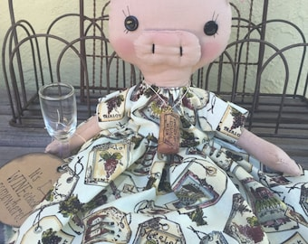 Hand sewn Wine Pig OOAK