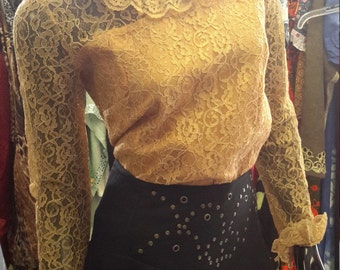 Vintage Gold Lace Top