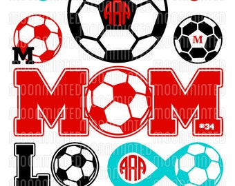 Soccer SVG Cut Files - Monogram Frames for Vinyl Cutters, Screen Printing, Silhouette, Die Cut Machines, & More