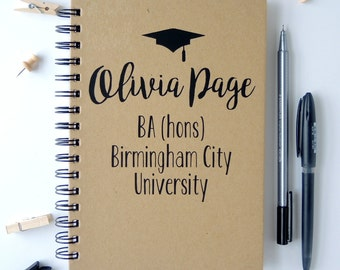Personalised Graduation Notebook. Personalised Graduation Gift. Alternative graduation gift.