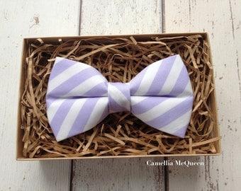 SALE! Men's bow tie, boys' bow tie, lavender and white striped bow tie