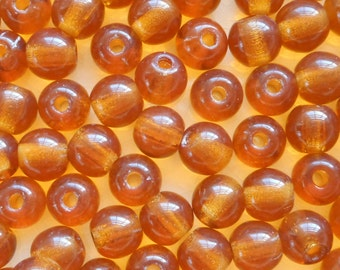 25 8mm Czech glass big hole beads, Topaz brown smooth round druk beads with 2mm holes  C0401