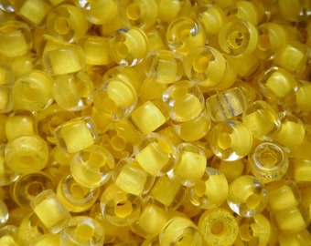 50 6mm Czech crystal yellow lined pony roller beads, large hole yellow glass crow beads, C4750