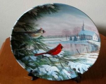 Cardinals in Winter Limited Edition Plate