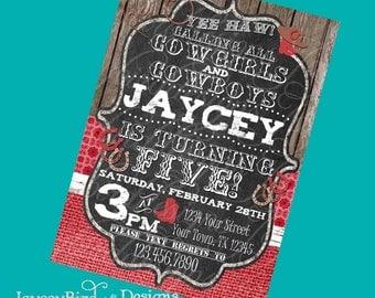 Cowgirl or Cowboy Birthday Invitation Yee Haw! Digital Invite