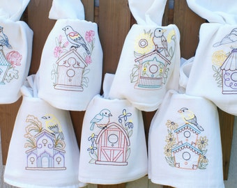 Birds & Birdhouses Dish Towels (Set of 7) - Made to Order