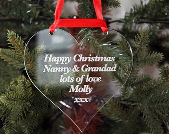 Happy Christmas Personalised Christmas Tree Decoration to Nanny & Grandad, Mum, Dad......Add any message!