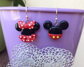 Cute Mickey and Minnie Mouse Polymer Clay Earrings