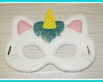 White Unicorn Kitty Felt Mask Pretend Play Birthday Party Dress Up Fancy Dress