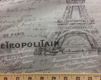 Gray Paris Fabric By the Yard, Half, Fat Quarter Postcard Script Fabric Eiffel Tower Fabric 100% Cotton Quilting Apparel BTY a1/11