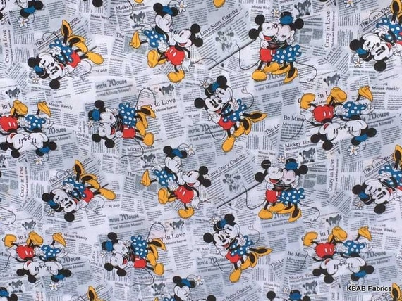 Mickey Minnie Mouse Fabric By The Yard Half Fat Quarter News