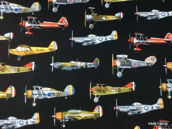 Airplane fabric by the yard half fat quarter vintage for Airplane fabric by the yard