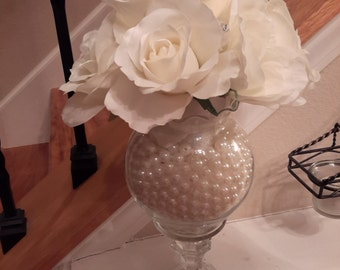 Ivory Roses & Pearls Centerpiece