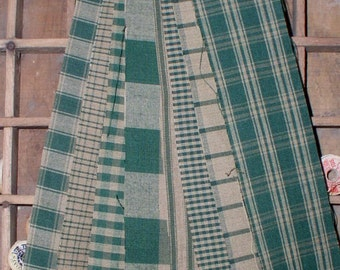 "8 Green 2"" Homespun Fabric Strips Primitive Country Decor Rag Crafts Cabin Decor 2"" Homespun Ticking Strips Green Plaids Gingham Checks"