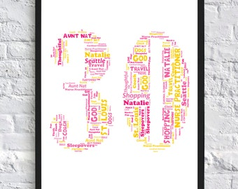Personalised Number/Age Word Art, Word Collage, Digital Art Print, Birthday, Anniversary, Any Age, Any Number, 1, 2, 16, 18, 21, 30, 40, 50