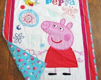 "Peppa Pig and Friends Nickelodeon British TV Show 36""x44""  Peppa Pig Coordinating Backing* Infant Nursery Toddler Napping Stroller Blanket"