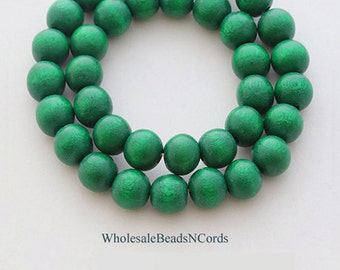 15 inch Strand 10mm  WOOD BEADS - Round - Dartmouth Green - Natural - Designer Colors  Wholesale Wooden Beads - Fast Ship - USA Seller 0322D
