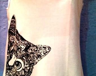 Shirt tank top with cat