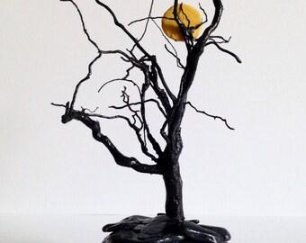 Full Moon Through the Trees Driftwood Art