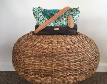 Leather Shoulder Bag/Leather and Fabric Bag/Handmade Bags/Made in Hawaii/Womens Accessories/Gift Ideas