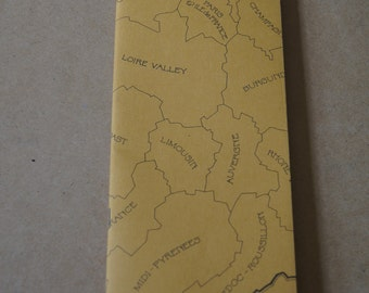 Vintage 1970's Your France Maps and Tourism Information Large Brochure - Yellow 16 pages of maps and information map