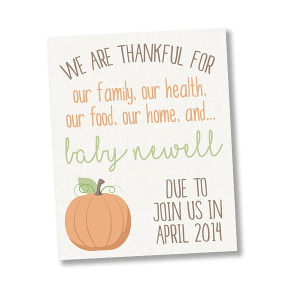 Thanksgiving Pregnancy Announcement Pumpkin Pregnancy