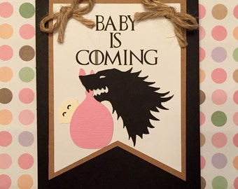 Baby is Coming, Game of Thrones inspired baby shower card