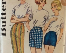 Butterick 9779 vintage 1960's misses proportioned pants or shorts sewing pattern waist 26 hip 36