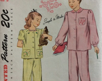 Simplicity 1807 girls pajamas size 8 vintage 1940's sewing pattern
