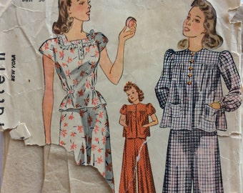 Simplicity 3422 girls pajamas size 12 bust 30 vintage 1940's sewing pattern