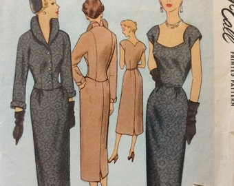McCall 8220 vintage 1950's misses wiggle dress and jacket sewing pattern size 12 bust 30