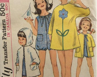 Simplicity 6033 vintage 1960's girls playsuit and beach coat sewing pattern size 8  Uncut  Factory folds