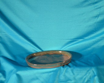 "Bonsai Pot/Tray, Ceramic Humidity Tray, 71/2"", Green Color, Oval Shape, Hard to Find!"