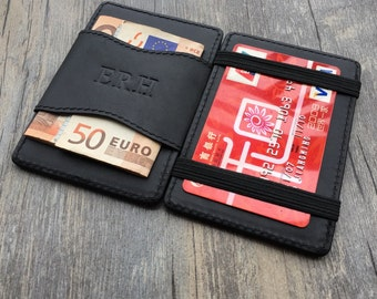 Personalized christmas gifts,magic card holder,business card cases,handmade,Genuine leather wallet,Christmas gifts for him,unique gifts