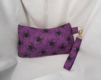 Halloween Wristlet, Purple Spider Purse, Small Zippered Handbag, Halloween Accessory, Halloween Costume, Key Fob Wrist Strap, Makeup Bag