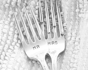 Vintage wedding forks, cake forks,  hand stamped,  Mr and Mrs with heart tines