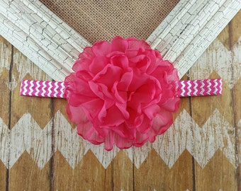 Pink flower headband,   singed flower headband, pink and silver headband, pink headband, girls headband,  Photo prop