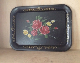Vintage Cottage Chic Large Black Metal Tray