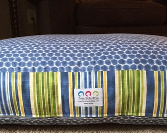 Fergus Dog Bed * Medium Large * HGTV Home * Blue * Green * Stripes * DotKat * Embroider * Custom Cover Dogbed Pillow * TSD