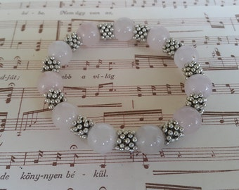 Pink Quartz Bracelet, Beaded Stretch Bracelet, Gemstone Stretch Bracelet, Quart Gemstone Bracelet, Beaded Bracelet, Natural Gemstone