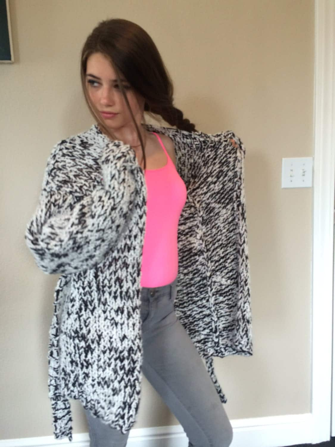 Knitting Pattern For A Chunky Cardigan : Easy Knitting Pattern for a Chunky Cardigan with a Belt Both