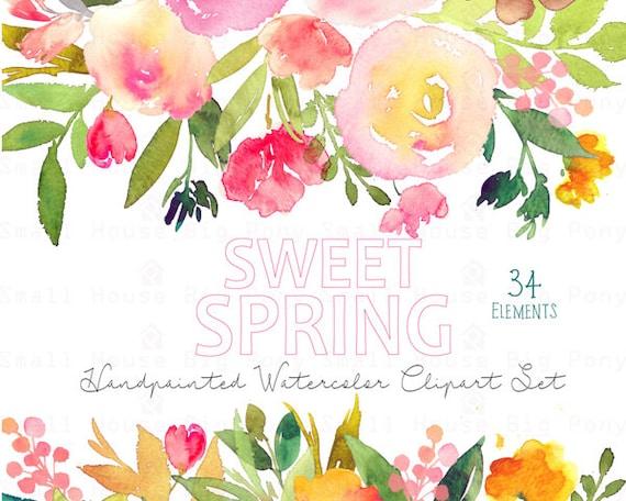 Digital Clipart- Watercolor Flower Clipart, peonies Clip art, Floral Bouquet Clipart, wedding flowers clip art- Sweet Spring Elements