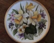 "Vintage ""Edwardian"" Fine Bone China Decorative Collector's Plate Spring Scene: Daffodils and Primroses"