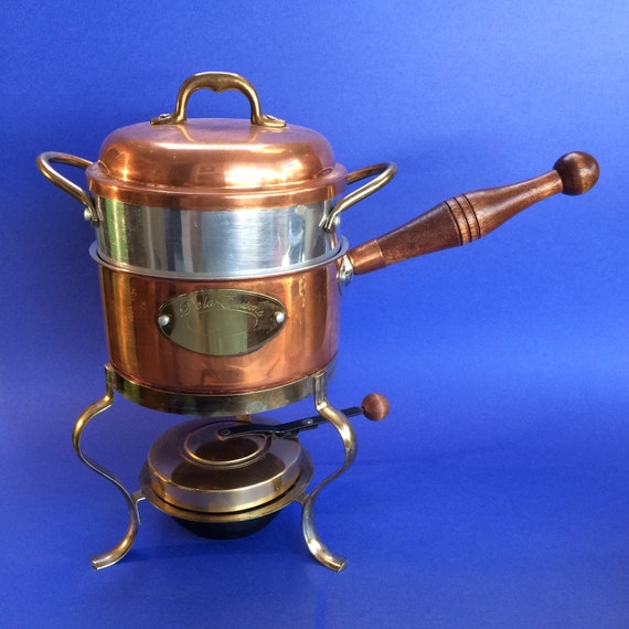 de la cuisine vintage copper fondue pot double boiler warming. Black Bedroom Furniture Sets. Home Design Ideas