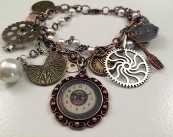 Steampunk Multi-Chain Bracelet - Steampunk Bracelet - Multi-Chain Bracelet - Steampunk Charm Bracelet - Charm Bracelet