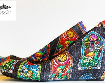 Legend Of Zelda-Wind Waker-Stained Glass- Women's Wedges-Choose Your Style