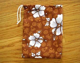 Hawaiian Drawstring Bags 6x8 BROWN, White Hibiscus Flowers of Hawaii, Tropic Beach Thanksgiving Coffee Candy Candle Beach Pouch eke Handmade