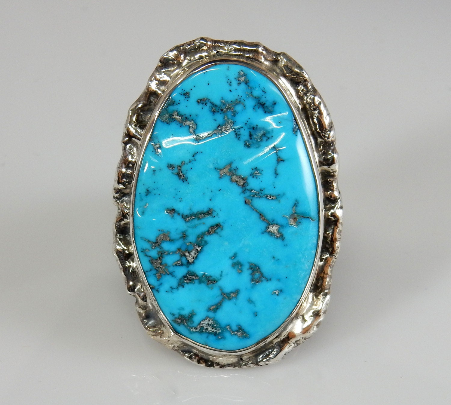 large sterling silver turquoise ring blue turquoise mens ring